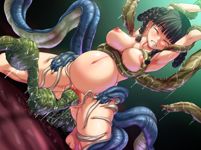 Beautiful Pregnant Hentai Teen with Huge Tits Gets Filled Up With Eggs from Green Tentacle