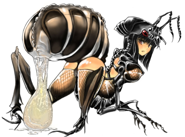 Busty Ant Hentai Girl Pushes Her Huge Egg Sack Out